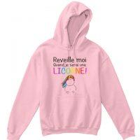 hoodie enfant Réveille moi quand je serai je serai une licorne