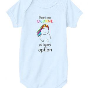 Body de bébé - Devenir une licorne est une option