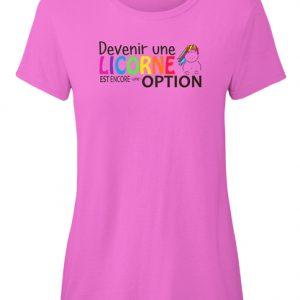 t-shirt Devenir une licorne est une option